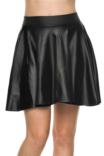 sexy black pvc vinyl waist mini skirts, schoolgirl inspired mini skirts that are skater style circle and faux leather, biker inspired mini skirt in wet look, costume party skater mini skirt to wear casual or going out, mini skirts, vinyl, Back To School
