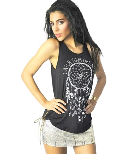 Black Dream catcher muscle tank top