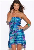 water color strapless ruffle cruise party dress
