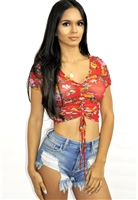 floral_mesh_drawstring_ruched_top