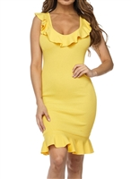 sexy-yellow_ruffle_trim_bodycon_dress