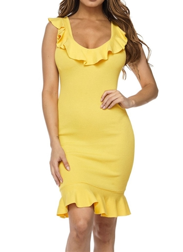 Yellow ruffle trim bodycon dress