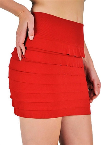 sexy flirtly little tiered red mini is very stretchy and has a thick ribbed soft waist band, very soft and won't cause muffin top, trendy mini skirts that are tiered skirts in short skirt , micro mini skirts are red hot jaded styles, instyle mini skirts