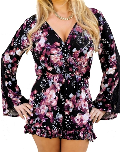 Sexy romper has wrap low cut v-neck, ruffled at leg openings, Chiffon romper, Plunge romper play suit in floral, sexy romper, casual romper, cleavage romper, party rompers, sexy cleavage romper, trendy romper short all, classy romper playsuit for festival