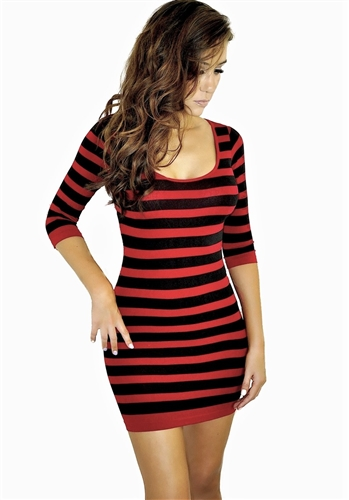 Sexy seamless black and red striped mini dress is stretchy and fitted, sexy fitted seamless striped mini dress is a very instyle dress, hot fitted dress is super sexy for casual dress or going out dress, stylish seamless dresses, pencil dresses in striped
