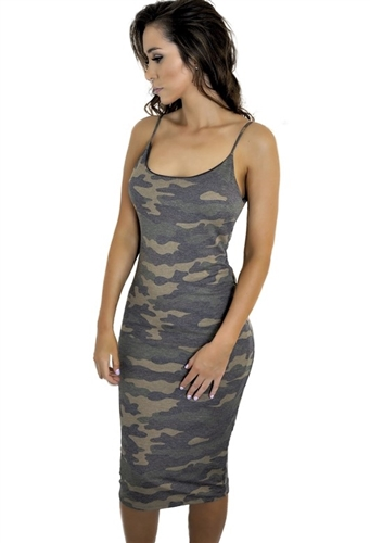 green_camo_print_stretchy_tank_dresses