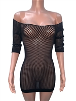 sexy_black_seamless_net_tunic_tops