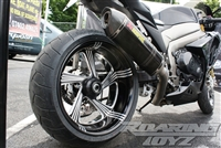 09-16 GSXR 1000 240 Single Sided Swingarm Kit Billet CNC Machined Black Anodized or Chrome Plated 2009 2010 2011 2012 2013 2014 2015 2016 Suzuki Custom Extended Stretched Swing Arm One Wide Tire Fat Wheel Performance Machine Rims Wheels GSX-R 1K