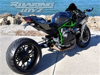 Kawasaki H2 Billet OSD Single Sided Swingarm Kit Black Chrome Suzuzki Fat wide tire extended arm 300 custom wheels 17x3.5 18x10.5 complete outside drive one chain performance H2R H2SX