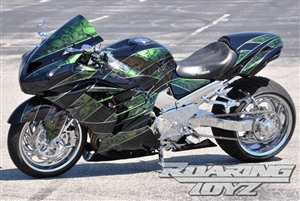 Kawasaki ZX14 Billet OSD Single Sided Swingarm Kit Black Chrome Suzuzki Fat wide tire extended arm 330 custom wheels 17x3.5 18x10.5 complete outside drive one chain performance ZX14R ZX-14 zzr1400