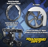 Bolt On Bagger 26 Inch Front Wheel Conversion Kit Complete Streetglide Electraglide Ultra Classic Touring Harley Big Wheel Raked Triple Trees Clamps Fender Tire 2013 2012 2011 2010 2009 2008 2007 2006 2005 2004 2003 2002 2001 2000