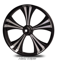 Helo Eclipse Black Forged Aluminum R.C. Components Custom Billet CNC Wheel for Harley Road King Glide Street Glide Electraglide Ultra Classic Limited Tri Glide Breakout Dyna Softail 2010 2011 2012 2013 2014 2015 2016 2017 2018 2019 2020 Bagger