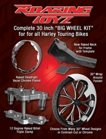 Stage 1 Bagger 30 Inch Front Wheel Conversion Kit Complete Roadking Road King RK Touring Harley Big Wheel Raked Triple Trees Clamps Fender Tire 2013 2012 2011 2010 2009 2008 2007 2006 2005 2004 2003 2002 2001 2000