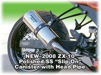 2008 2009 2010 ZX10R Polished Stainless Slip On Exhaust