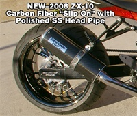 2008 2009 2010 ZX-10 Carbon Fiber Slip On Exhaust ZX10R ZX-10R ZX10 Pipe System Performance Custom Light Race