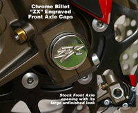 Kawasaki Ninja Billet Front Axle Cover Kit Chrome ZX Engraved