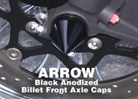 Arrow Point Front Axle Caps Black Anodized