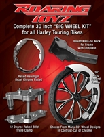 Stage 1 Bagger 30 Inch Front Wheel Conversion Kit Complete Streetglide Electraglide Ultra Classic Touring Harley Big Wheel Raked Triple Trees Clamps Fender Tire 2013 2012 2011 2010 2009 2008 2007 2006 2005 2004 2003 2002 2001 2000