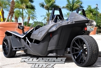"Custom Polaris Slingshot Wheels 20 Inch Front 22 Inch Rear Fat Wide Rear Tire Wheel 20x9 22x10.5 22"" 20"" 305/25R22 305 Tire 255/35R20 Wheel Rim Rims Black Machined 2015 2016 Forged Big SS Base Upgrade Premium Matte mat black aftermarket"
