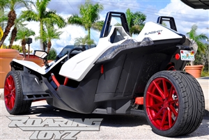 Custom Wheel Polaris Slingshot Performance Tire Package 20 Inch Wheels Style 38 Race Compound Tires Wide 305 Fat Rear Tire Toyo 888 Ultimate traction base sl model 2015 SS Forged Black Machined 20x11 rear 20x9 front racing light weight forged 2016 2017