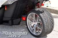 Custom Wheel Polaris Slingshot Performance Tire Package 20 Inch Wheels Style 39 Race Compound Tires Wide 325 Fat Rear Tire Toyo 888 Ultimate traction base sl model 2015 SS Forged Black Machined 20x12 rear 20x9 front racing light weight forged widest