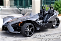 "Polaris Slingshot Custom Wheels 20 Inch Front 22 Inch Rear Fat Wide Rear Tire Wheel 20x8.5 20x9 22x10.5 22"" 20"" 305/25R22 305 Tire 245/35R20 Wheel Rim Rims Black Machined 2015 2016 Forged Big SS Base Upgrade Premium"