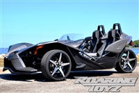Custom Polaris Slingshot Performance Wheel Tire Package 20 Inch Wheels Style 6 Race Compound Tires Wide 315 Fat Rear Tire Toyo 888 Ultimate traction base sl model 2015 SS Forged Black Machined 20x10.5 rear 20x9 front 20""