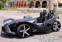 Custom Polaris Slingshot Performance Wheel Tire Package 22 Inch Wheels Style 9.22 Tires Wide 305 Fat Rear Tire Ultimate traction base sl model 2015 2016 SS Forged Black Machined 22x10.5 rear 22x9 front 22""