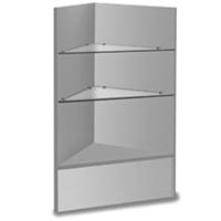Grey Corner Merchandise Case Glass Shelve