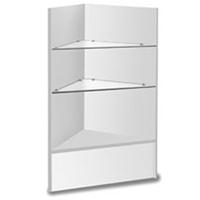 Corner Merchandise Case Glass Shelve