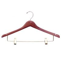 17 Inch Notched Wood Suit Hanger With Clips