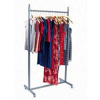 Raw Steel Adjustable Rolling Clothing Rack 48