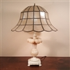 Alabaster Table Lamp with Capiz Shell Shade