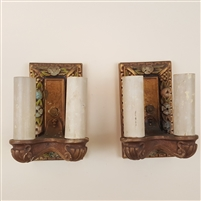 Pair of painted gesso wall lights.