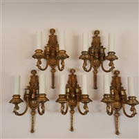 5 Cast Brass Ornate Figurative Wall Lights