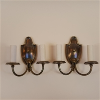 Pair of two Arm Brass Wall Lights