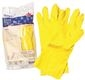 RENOWN FLOCK LINED LATEX GLOVES, MEDIUM, YELLOW, 18 MIL, 12 PAIRS PER PACK