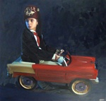 Ron English Hellaboy in Car Original Oil On Canvas