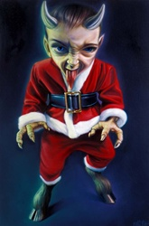 Ron English Kid Krampus Original Oil On Canvas