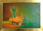 Ron English Bunny Ride Original Oil On Canvas