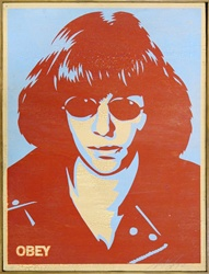 Shepard Fairey Ramone on Wood