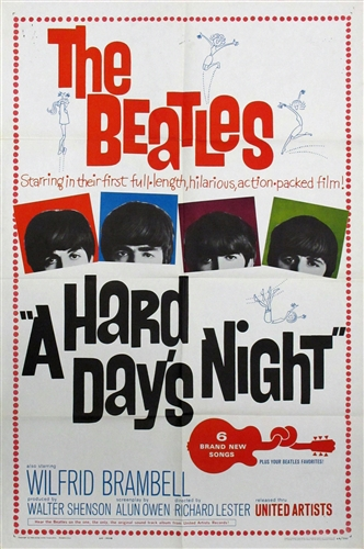 A Hard Days Night Original US One Sheet Vintage Movie Poster Beatles