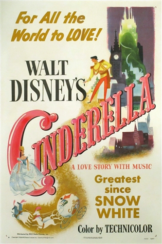 cinderella original us one sheet vintage movie poster disney