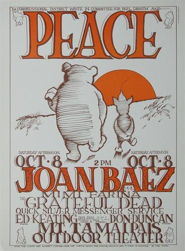 Grateful Dead And Joan Baez Peace Concert Poster Vintage ...