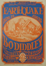 Earthquake With Bo Diddley And Big Brother And The Holding Company Original Concert Poster