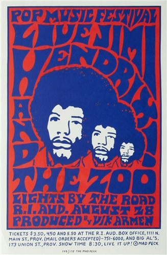 Jimi Hendrix And The Zoo Original Limited Edition Of Concert Poster Vintage Rock Rhode Island