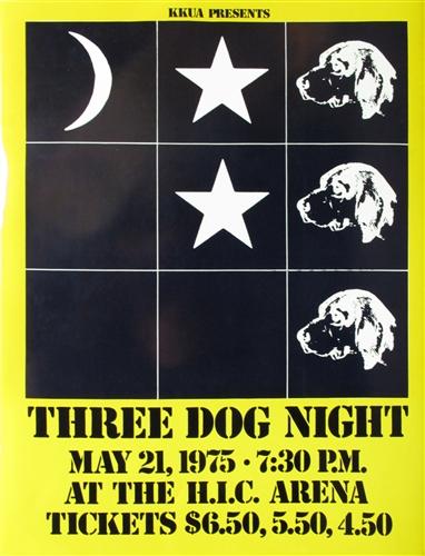 Three Dog Night Original Concert Poster Vintage Rock Honolulu Hawaii