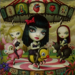 Mark Ryden Clear Hearts Grey Flowers Limited Edition Framed Print