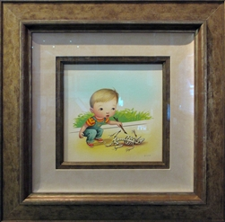 Mark Ryden Little Boy With Skull Original Painting, Framed