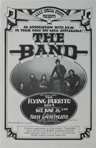 The Band And Flying Burrito Brothers Concert Poster Vintage Rock Randy Tuten